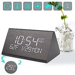 Warmhoming Wooden Digital Alarm Clock with 7 Levels Adjustable Brightness