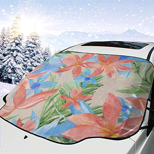 Watercolor Tropical Floral Flower Car Windshield Cover Blocks Snow, Ice, Larger Shade Waterproof Sun Protection Sun Thicker Sunshade Fit Most Vehicles, SUVs, Trucks, MPVs 58 x 46.5 inch (Best Suv In Snow And Ice 2019)