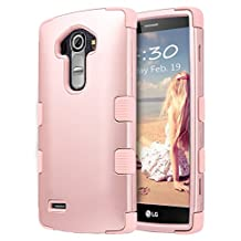 "LG G4 Case, ULAK [3 in 1 Shield] Shock Absorbing Case with Hybrid Cover Soft silicone + Hard PC Material Design for LG G4 (5.5"" inch) 2015 Release Rose Gold"