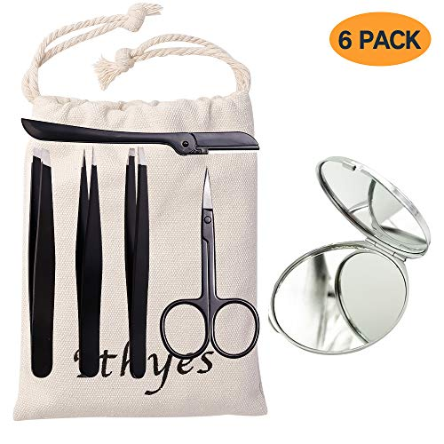 Ithyes Complete Tweezer Set 6 PCS Slant Pointed Flat Stainless Steel Tweezers with Hand Mirror Eyebrow Trimmer Scissor for Shape Precision Ingrown Hair Nose Hair Blackhead Tick Remover, Black
