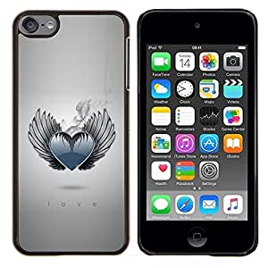Eason Shop / Premium SLIM PC / Aliminium Casa Carcasa Funda Case Bandera Cover - Corazón fresco del amor Alas Ángel monocromático de humo - For Apple iPod Touch 6 6th Touch6