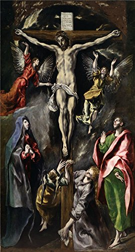'El Greco The Crucifixion 1596 1600 ' Oil Painting, 10 X 19 Inch / 25 X 47 Cm ,printed On High Quality Polyster Canvas ,this Reproductions Art Decorative Prints On Canvas Is Perfectly Suitalbe For Laundry Room Gallery Art And Home Decoration And Gifts
