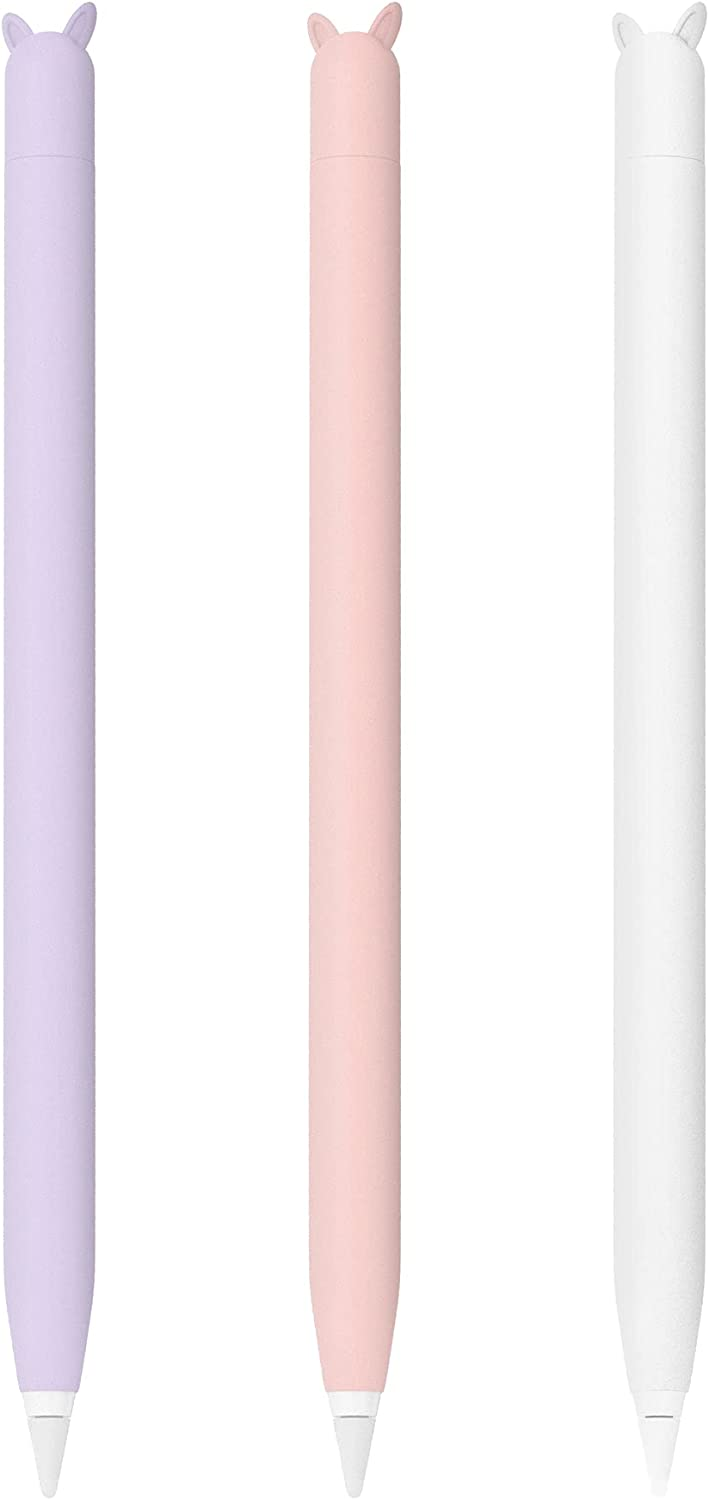 3 Pack Soft Sleeve Apple Pencil Case for Apple Pencil 1st Generation, Cute Silicone Skin Cover Accessories Compatible with iPad Pro 9.7