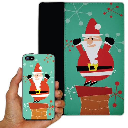 - iPhone 5 and iPad 2 or 3 Set - Christmas Theme (Santa) - Protective Leather and Suede Case iPad 2 or 3 case and Clear iPhone 5 Protective Cas