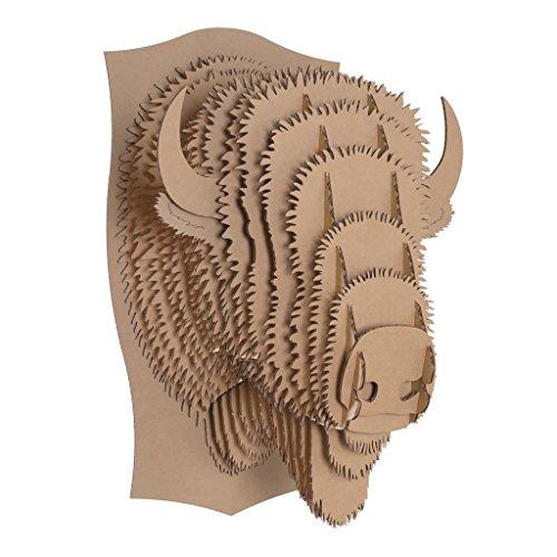 (Cardboard Safari Recycled Cardboard Animal Taxidermy Bison Trophy Head, Billy Brown Large)