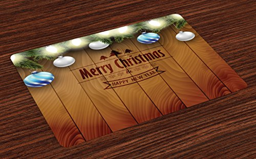 Ambesonne Christmas Place Mats Set of 4, Wooden Setting with Silver Balls Fairy Tale Setting and Pine Tree Twigs Wishes Theme, Washable Fabric Placemats for Dining Room Kitchen Table Decor, Brown