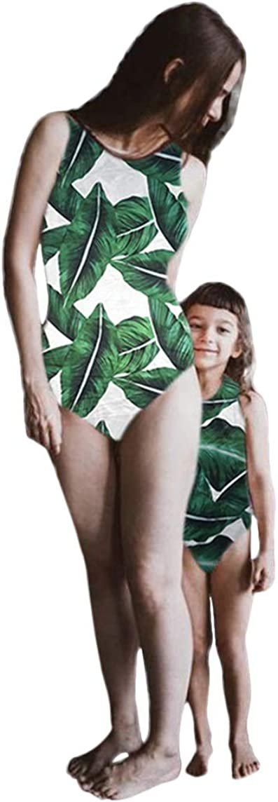Winsummer Mommy and Me Swimsuit Mother Daughter Bathing Suit Family Matching Mom and Girls Leaves Print Swimwear