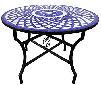 Saharashop Table de mosaïque Orientale Ronde Louza Bleu ...