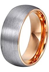 Will Queen Domed Matte Tungsten Wedding Bands, Rose Gold Interior Anniversary Rings Comfort Fit, 8mm