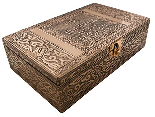 VGI Elegant Jewelry Box with Hammered Metal Cladding and Soft Fabric Interior (Forever in My Heart, Copper Finish) ()