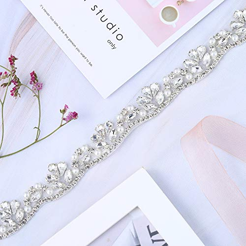 XINFANGXIU Crystal Rhinestone Applique Trim Trimming 1 Yard with Jeweled Diamond Embellishments Sew Iron on Hot Fix for Bridal Wedding Sash Bridesmaid Gown Womens Prom Formal Belt