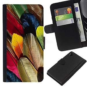 KLONGSHOP // Tirón de la caja Cartera de cuero con ranuras para tarjetas - Plumas de colores Dibujo del arte del pájaro Wallpaper - Sony Xperia Z2 D6502 //