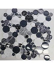 """ GALALA ""mosaic tile grey white glass marble diamond cut tiles"