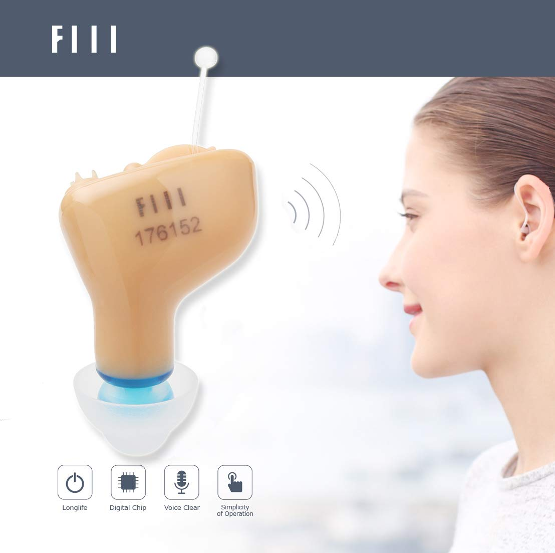 FIIL Hearing Amplifier Mini Sound Amplifier in Ear Almost Invisible Battery A10 (Left Ear)