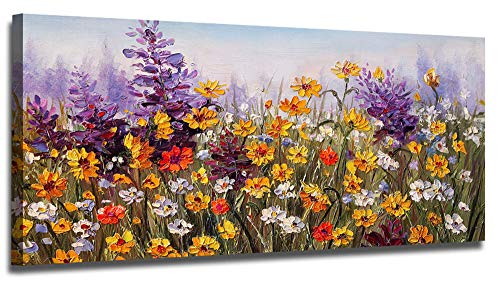 Canvas Flowers (Ardemy Canvas Wall Art Daisy Colorful Bloosom Yellow Flowers Artwork Painting Prints Modern Picture Framed Ready to Hang for Living Room Bedroom Kitchen Office Home Decorations-40inx20in)