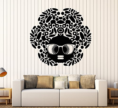 Vinyl Wall Decal Cartoon Black Woman African Girl Hairstyle Sunglasses Stickers Large Decor - Cartoon Sunglasses Black