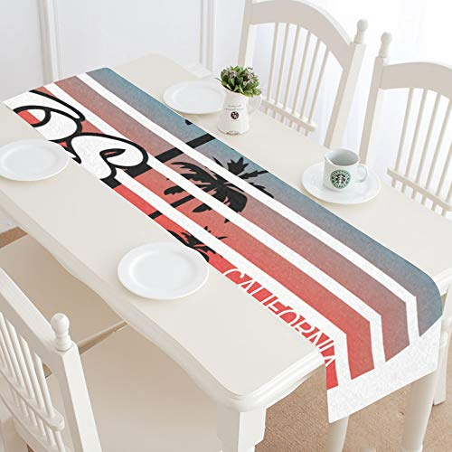 WIEDLKL Los Angeles Artwork Tshirt Poster Table Runner Kitchen Dining Table Runner 16x72 Inch for Dinner Parties Events Decor ()