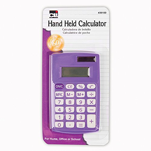 Charles Leonard Hand Held Calculator, Battery and Solar Powered with 8 Digit Display, Assorted Colors (39100) (Basic Calculator Purple)