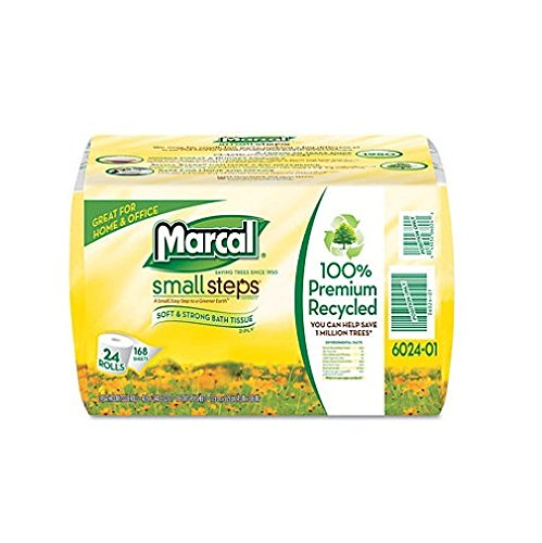 Marcal 6024 100% Recycled 2-Ply Bath Tissue Rolls 168 Sheets