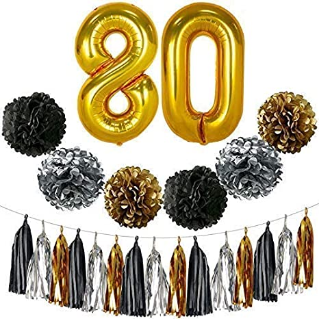 Gold 80th Birthday Decorations Large Pack Of 23