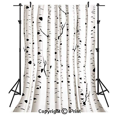 Lake Grove Satin - Birch Tree Photography Backdrops,Forest Seasonal Nature Woodland Leafless Branches Grove Botany Illustration Decorative,Birthday Party Seamless Photo Studio Booth Background Banner 6x9ft,Black and Whi