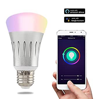 optimal5 WiFi Smart LED Light Bulb Work with Alexa No Hub Required Multicolored Color Dimmable Night Light for IOS/Android