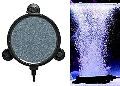 "AquaticHI Large (4.25"") Round Disc Air Stone / Diffuser for Oxygenation in Fresh / Saltwater Tanks, Ponds, Hydroponic, Aquaponics, and as a Decorative Airstone for Aquariums"