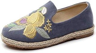 YOPAIYA Espadrilles Plat Loafers Femmes Espadrille Bleu Fleur Motif Broder Chaussures Confortable Pantoufles Dames Femmes Occasionnels Chaussures Respirant Lin Chanvre Toile