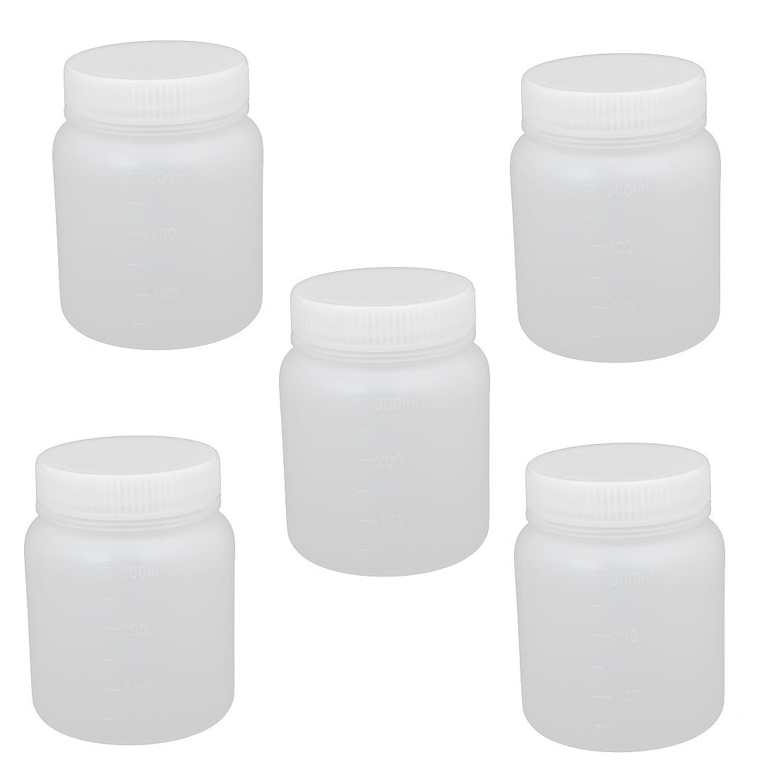 uxcell 5Pcs 300ml Plastic Wide Mouth Round Seal Liner Reagent Bottle Sample Bottle White