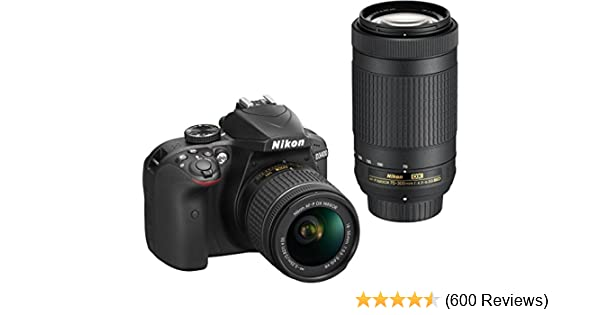 Amazon Com Nikon D3400 Dslr Camera With Af P Dx Nikkor 18 55mm F  6g Vr And Af P Dx Nikkor 70 300mm F  3g Ed Camera P O