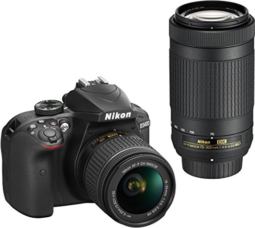 Nikon D3400 Digital Camera Kit (Black) with Lens AF-P DX Nikkor 18-55mm, 70-300mm f/4.5-6.3G ED VR Lens, 16 GB Class 10 SD Card and DSLR Bag
