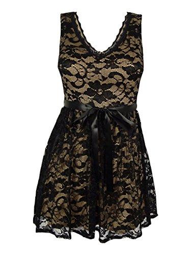 B Darlin Juniors' Lace V-Neck Dress (3/4, Black/Tan) by Bee Darlin