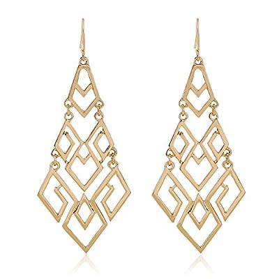 """D EXCEED Women's Metal Cutout Diamond Chandelier Tiered Dangle Earrings, 3.15"""""""