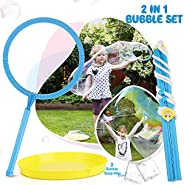 TOY Life Big Bubble Wand for Kids Set - Giant Bubble Wand Makes Huge Bubbles - Great Outside Toy for Kids Ages