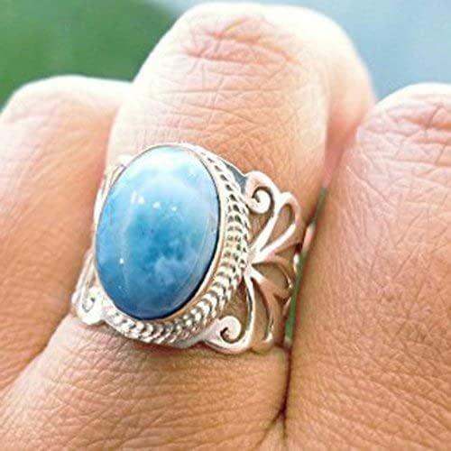 men/'s accessories handmade jewelry ring men/'s ring pure 925 sterling silver jewelry ring boy ring-gift him Traingle larimar simple ring