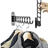 Wall Mount Garment Rack Holder Up To 12 Hanger - Great for Baby, Kids, Men & Women Clothing - Perfect for Laundry, Cleaning and Organizing Your Wardrobe Set Of 2