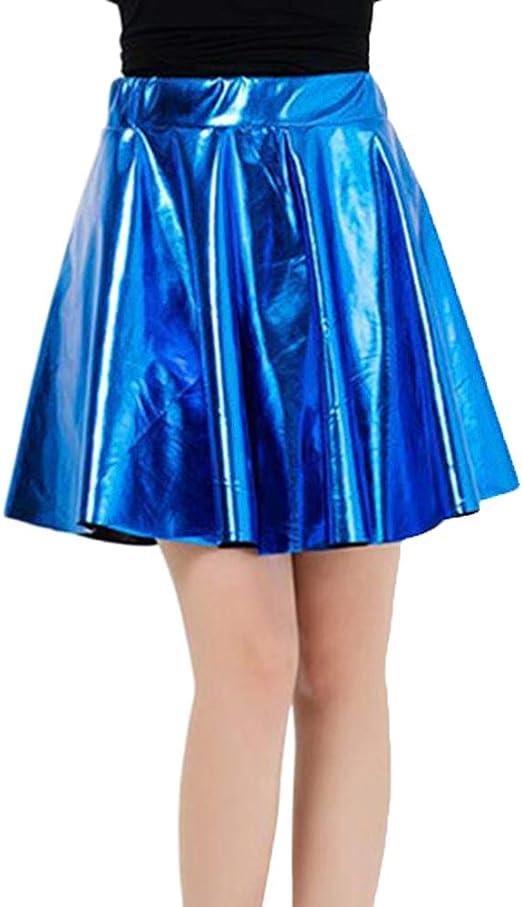LaoZanA Mujer Falda Skater Acampanada Metálica Brillante Plisado ...