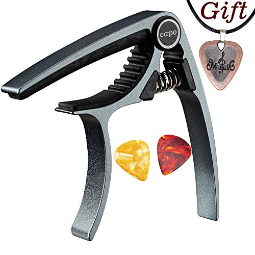 Capo,Guitar Capo for Acoustic and Electric Guitars, Zinc Alloy- Quick Change Guitar Capo (MS-20 Purple) & Free Pick and pick necklace. (MS-20-Metallic blue Capo) (Blue Guitar Pick Necklace)