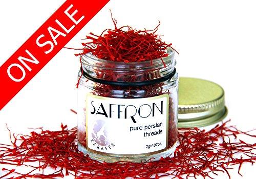 Zaraffe Organically Grown Saffron (2 Gram 0.07 Oz.)/Freeze dried