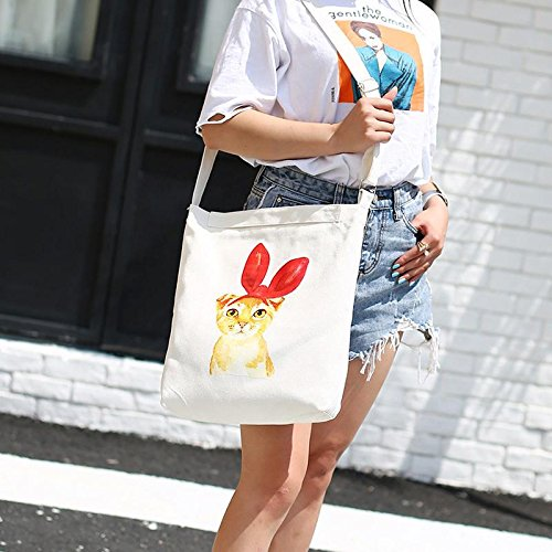 White Eco Canvas Black Pocket Bag Purse 1PC Shoulder Bowknot Bag Shopping Handbag Feathers ZHUOTOP Casual wHqRapU1