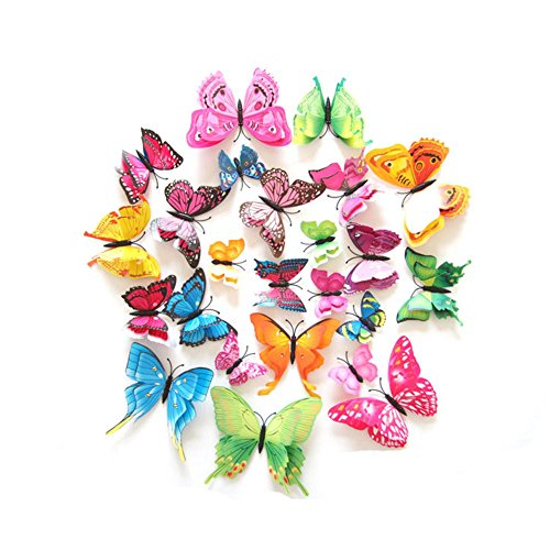 24 Pcs 3D Butterfly Stickers Double Wings with Pin Art Curtain Decoration (Pin)