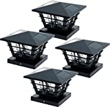 GreenLighting 5x5 Solar Powered Post Cap Light w/ 4x4 Base Adapter (Black, 4 Pack)