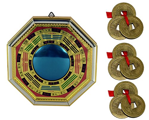 IndianStore4All Feng Shui Chinese Convex Vastu Bagua (Pa KUA) Octagon 8x8'' inches Protection Mirror Front Wall/Door Decor Free Set of 3 Lucky Coin Set