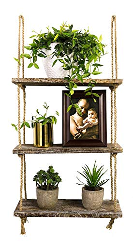 TIMEYARD Decorative Wall Hanging Shelf, 3 Tier Distressed Wood Jute Rope Floating Shelves, Rustic Home Wall Decor 1
