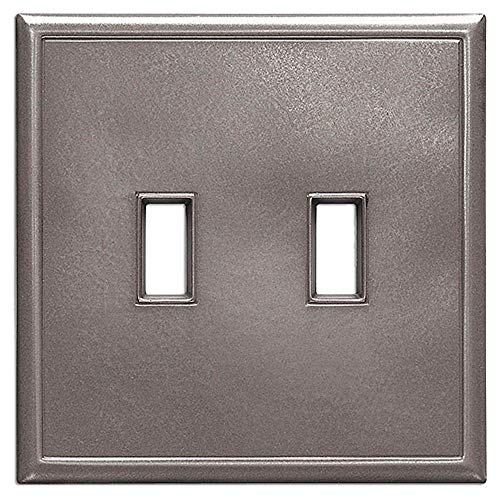 Double Toggle Light Switch Plates Questech Screwless Wall Plate Covers | No Visible Screws (Brushed Nickel) ()