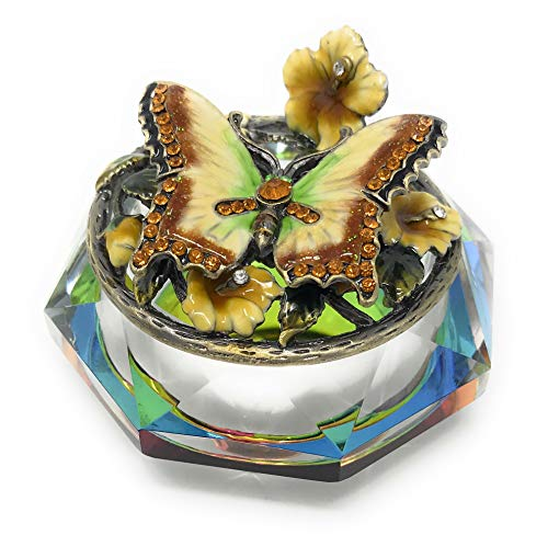 (Kubla Crafts Enameled Butterfly and Flowers on Cut Glass Trinket Box, Accented with Austrian Crystals, 3 Inches)
