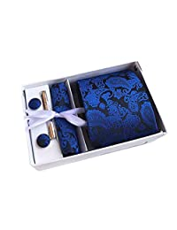 MENDENG Men's Royal Blue Paisley Necktie Tie Clip Pocket Square Cufflinks Set