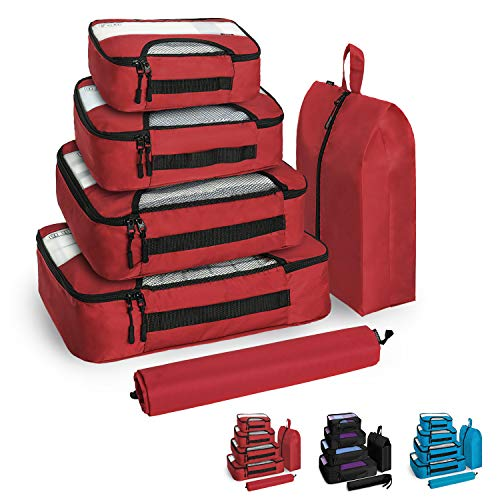 ecb70cf97f52 Veken 6 Set Packing Cubes, Travel Luggage Organizers with Laundry Bag &  Shoe Bag