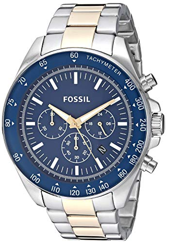 Fossil Blue Silver Dial - Fossil Men's Neale Quartz Stainless Steel Sport Watch, Color: Silver, Gold (Model: BQ2266)