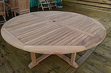 dorchester solid teak 18m 6ft round cross leg garden table circular